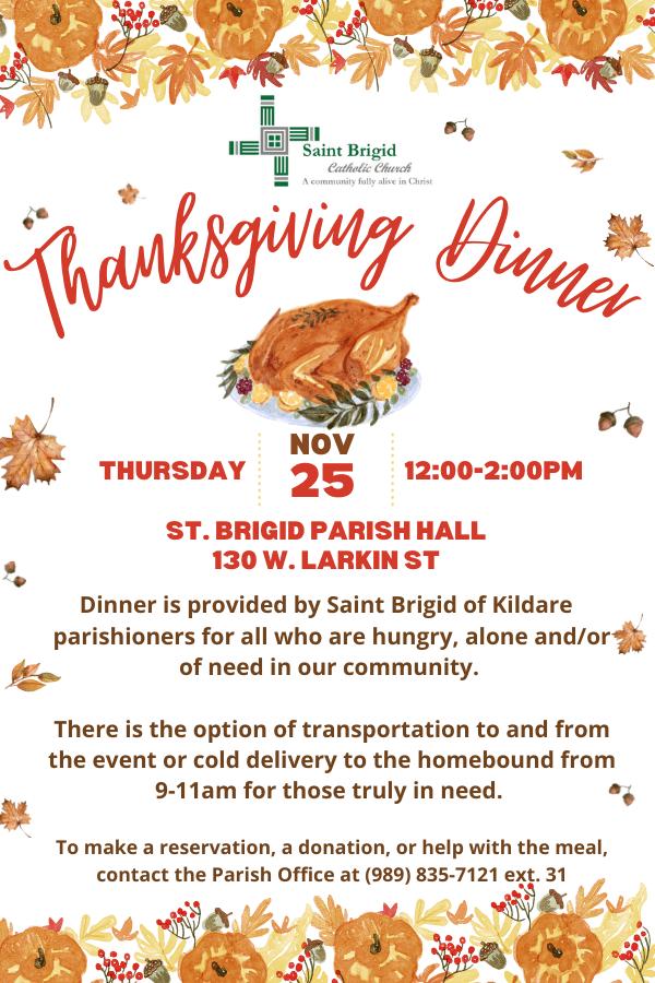 St. Brigid Community Thanksgiving Dinner-November 25th